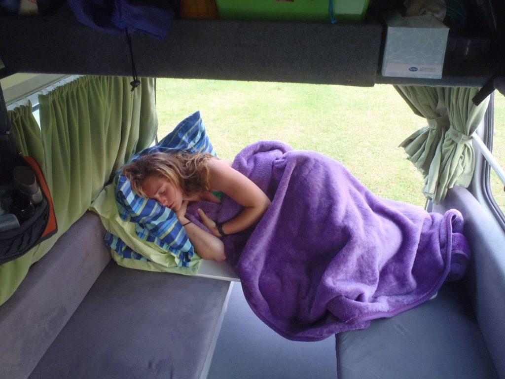 Sarah Asleep after a good morning of Dolphin Spotting